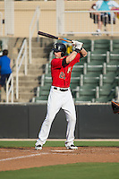 Louie Lechich (21) of the Kannapolis Intimidators at bat against the Delmarva Shorebirds at CMC-Northeast Stadium on June 7, 2015 in Kannapolis, North Carolina.  The Shorebirds defeated the Intimidators 9-1.  (Brian Westerholt/Four Seam Images)