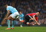 Alexis Sanchez of Manchester United fouled by Danilo of Manchester City during the premier league match at the Etihad Stadium, Manchester. Picture date 7th April 2018. Picture credit should read: Simon Bellis/Sportimage