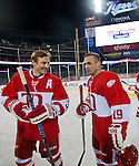 31 December 2013: Former Detroit Red Wings forward Sergei Fedorov, left, and forward Steve Yzerman talk on the ice after the Toronto Maple Leafs v Detroit Red Wings Alumni Showdown hockey game, at Comerica Park, in Detroit, MI.