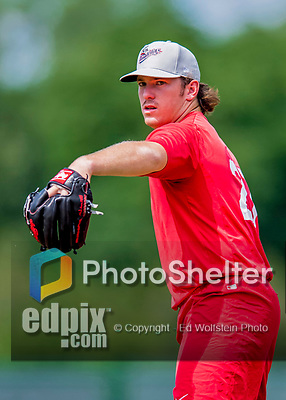 16 July 2017: Auburn Doubledays pitcher Kyle Johnston works on pre-game drills prior to a game against the Vermont Lake Monsters at Centennial Field in Burlington, Vermont. The Monsters defeated the Doubledays 6-3 in NY Penn League action. Mandatory Credit: Ed Wolfstein Photo *** RAW (NEF) Image File Available ***