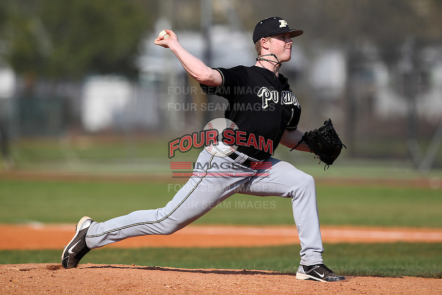 Joe Haase #1 of the Purdue Boilermakers during a game vs the Pittsburgh Panthers at the Big East-Big Ten Challenge at Walter Fuller Complex in St. Petersburg, Florida;  February 20, 2011.  Purdue defeated Pitt 5-3.  Photo By Mike Janes/Four Seam Images