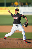 Kannapolis Intimidators relief pitcher Kelvis Valerio (26) in action against the West Virginia Power at CMC-Northeast Stadium on April 21, 2015 in Kannapolis, North Carolina.  The Power defeated the Intimidators 5-3 in game one of a double-header.  (Brian Westerholt/Four Seam Images)