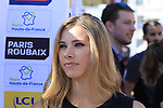 Former pro cyclist Marion Rousse at the Team Presentation for the upcoming 115th edition of the Paris-Roubaix 2017 race held in Compiegne, France. 8th April 2017.<br /> Picture: Eoin Clarke | Cyclefile<br /> <br /> <br /> All photos usage must carry mandatory copyright credit (&copy; Cyclefile | Eoin Clarke)