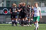 110410 Ume&aring;s spelare jublar efter ett m&aring;l under fotbollsmatchen i Damallsvenskan mellan Hammarby och Ume&aring; den 10 April 2011 i Stockholm. <br /> Foto: Kenta J&ouml;nsson<br /> Nyckelord: fotboll, damallsvenskan, hammarby, ume&aring;, jubel