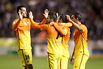 FC Barcelona's Sergio Busquets, David Villa, Andres Iniesta and Martin Montoya celebrate goal during Spanish King's Cup match.October 30,2012. (ALTERPHOTOS/Acero)
