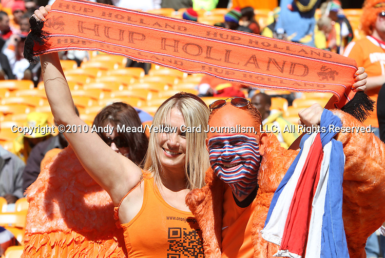 14 JUN 2010: Holland fans. The Netherlands National Team defeated the Denmark National Team 2-0 at Soccer City Stadium in Johannesburg, South Africa in a 2010 FIFA World Cup Group E match.