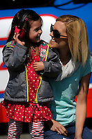 The 2 girls of Sam Hornish, Jr. (#12), wife Crystal and daughter Addison.