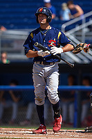 State College Spikes second baseman Josh Swirchak (26) at bat during a game against the Batavia Muckdogs August 23, 2015 at Dwyer Stadium in Batavia, New York.  State College defeated Batavia 8-2.  (Mike Janes/Four Seam Images)