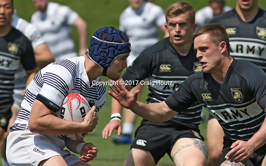 Penn State men's rugby Selby Niumataiwalu against Army West Point men's rugby in the 2nd round of the Penn Mutual Varsity Cup Men's Rugby Championship on April 15, 2017. Penn State won 47-34. Photo/©2017 Craig Houtz