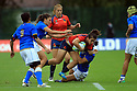 BELFAST, NORTHERN IRELAND - AUGUST 26: Spain's Patricia Garcia is brought down by  Italy's Michela Sillari during a final play off  in the Women's World Cup Rugby 2017 at Queen's  University Belfast, Saturday,  August 26, 2017. Italy beat Spain 20-15. Photo/Paul McErlane