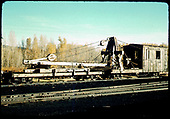 D&amp;RGW derrick #OP and her boom car, possibly in Chama.<br /> D&amp;RGW  Chama ?, NM