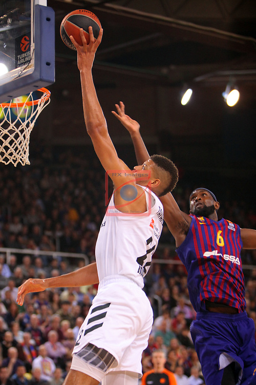 Turkish Airlines Euroleague 2018/2019. <br /> Regular Season-Round 24.<br /> FC Barcelona Lassa vs R. Madrid: 77-70. <br /> Walter Tavares vs Chirs Singleton.