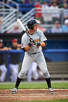 West Virginia Black Bears catcher Arden Pabst (52) at bat during a game against the Batavia Muckdogs on June 28, 2016 at Dwyer Stadium in Batavia, New York.  Batavia defeated West Virginia 3-1.  (Mike Janes/Four Seam Images)