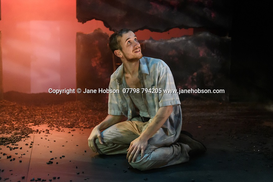 "York, UK. 14.11.2019. ""Hello and Goodbye"", by Atholl Fugard, opens at York Theatre Royal, and runs from the  14th to the 30th November 2019. The production is directed by John R Wilkinson, lighting design is by Sara Burns, with set and costume design by Laura Ann Price. The cast is: Emilio Iannucci (Johnnie) and Jo Mousley (Hester). Photograph © Jane Hobson."