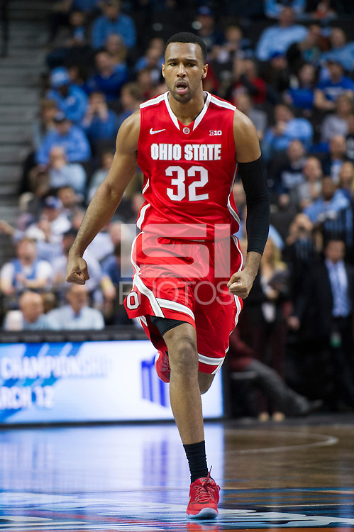BROOKLYN, NY - Saturday December 19, 2015: Trevor Thompson (#32) of Ohio State celebrates a big point against Kentucky as the two teams square off in the CBS Classic at Barclays Center in Brooklyn, NY.