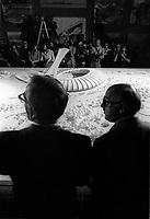 Le Maire Jean Dreapeau presenta la maquette du Stade Olympique, le 17 juillet 1974.<br /> <br /> PHOTO D'ARCHIVE : Agence Quebec Presse - Alain Renaud
