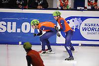 SCHAATSEN: DORDRECHT: Sportboulevard, Korean Air ISU World Cup Finale, 10-02-2012, Relay Men, Freek van der Wart NED (63), Daan Breeuwsma NED (59), ©foto: Martin de Jong