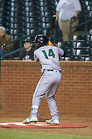 Heliot Ramos (14) of the Augusta GreenJackets waits for his turn to bat during the game against the Greensboro Grasshoppers at First National Bank Field on April 10, 2018 in Greensboro, North Carolina.  The GreenJackets defeated the Grasshoppers 5-0.  (Brian Westerholt/Four Seam Images)