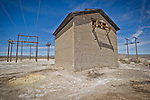 Abandoned concrete building used as a transformer station, Alkali, Nev.