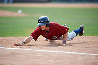Mahoning Valley Scrappers shortstop Jesse Berardi (22) dives back towards first base during the first game of a doubleheader against the Batavia Muckdogs on September 4, 2017 at Dwyer Stadium in Batavia, New York.  Mahoning Valley defeated Batavia 4-3.  (Mike Janes/Four Seam Images)