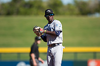 Peoria Javelinas shortstop Lucius Fox (5), of the Tampa Bay Rays organization, during an Arizona Fall League game against the Mesa Solar Sox at Sloan Park on November 6, 2018 in Mesa, Arizona. Mesa defeated Peoria 7-5 . (Zachary Lucy/Four Seam Images)