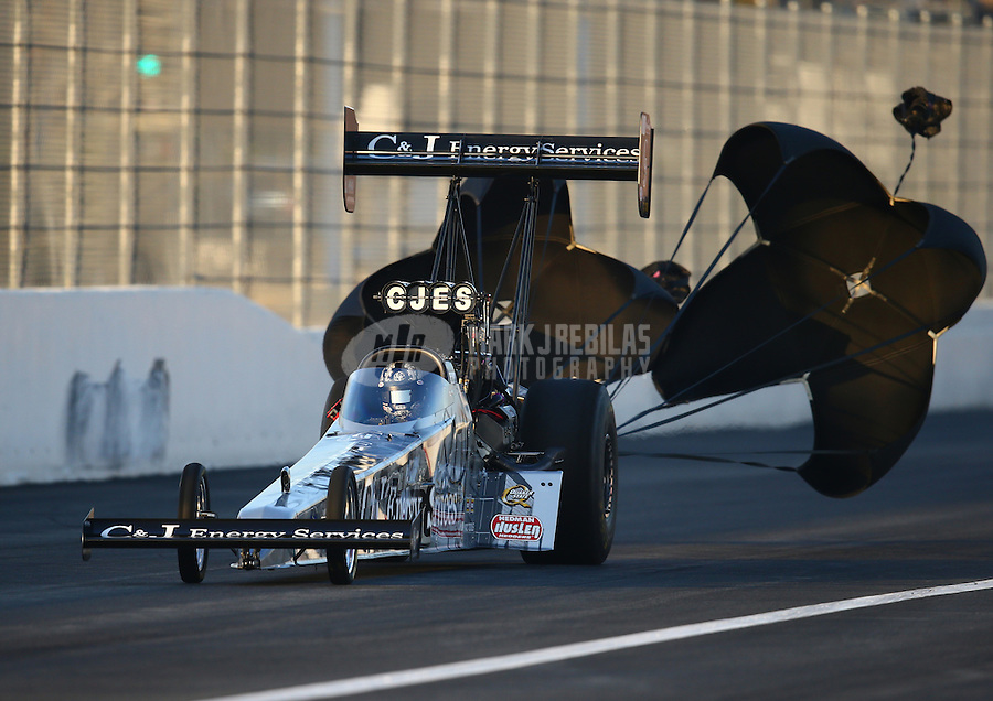 Feb 13, 2016; Pomona, CA, USA; NHRA top fuel driver Dave Connolly during qualifying for the Winternationals at Auto Club Raceway at Pomona. Mandatory Credit: Mark J. Rebilas-USA TODAY Sports