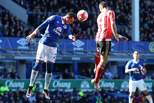 16.04.2016. Goodison Park, Everton, England. Barclays Premier League. Everton versus Southampton. Ramiro Funes Mori of Everton heads clear in his six yard area.