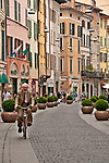Street in Brescia, Italy with bright colored buildings