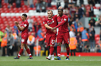 Liverpool's Xherdan Shaqiri and Georginio Wijnaldum at the end of the game<br /> <br /> Photographer Rob Newell/CameraSport<br /> <br /> The Premier League - Liverpool v West Ham United - Sunday August 12th 2018 - Anfield - Liverpool<br /> <br /> World Copyright &copy; 2018 CameraSport. All rights reserved. 43 Linden Ave. Countesthorpe. Leicester. England. LE8 5PG - Tel: +44 (0) 116 277 4147 - admin@camerasport.com - www.camerasport.com
