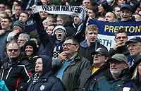 Preston North End fans celebrate their teams last minute goal<br /> <br /> Photographer Stephen White/CameraSport<br /> <br /> The EFL Sky Bet Championship - Blackburn Rovers v Preston North End - Saturday 18th March 2017 - Ewood Park - Blackburn<br /> <br /> World Copyright &copy; 2017 CameraSport. All rights reserved. 43 Linden Ave. Countesthorpe. Leicester. England. LE8 5PG - Tel: +44 (0) 116 277 4147 - admin@camerasport.com - www.camerasport.com