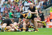 Joe Simpson of London Wasps passes during the Aviva Premiership match between London Wasps and Harlequins at Twickenham on Saturday 1st September 2012 (Photo by Rob Munro).
