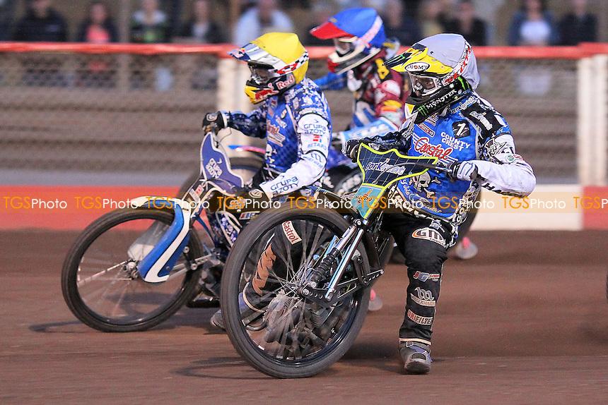 Heat 13: Watt (blue), Holder (white) and Janowski - Lakeside Hammers vs Poole Pirates - Sky Sports Elite League Speedway at Arena Essex Raceway, Purfleet - 07/06/13 - MANDATORY CREDIT: Gavin Ellis/TGSPHOTO - Self billing applies where appropriate - 0845 094 6026 - contact@tgsphoto.co.uk - NO UNPAID USE