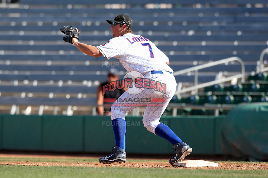 Mesa Solar Sox infielder D.J. LeMahieu #7 during an Arizona Fall League game against the Phoenix Desert Dogs at HoHoKam Park on November 3, 2011 in Mesa, Arizona.  Mesa defeated Phoenix 8-7.  (Mike Janes/Four Seam Images)