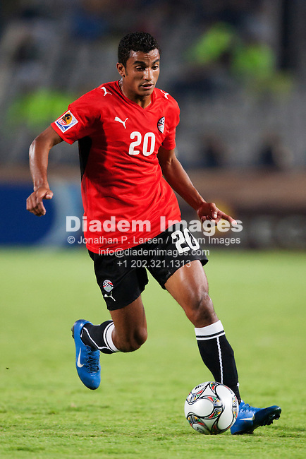 CAIRO - OCTOBER 6:  Hussam Arafat of Egypt on the ball during the FIFA U-20 World Cup round of 16 match against Costa Rica at Cairo International Stadium on October10, 2009 in Cairo, Egypt.  Editorial use only.  Commercial use prohibited.  (Photograph by Jonathan P. Larsen)