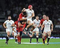James Haskell of England clashes with Brice Dulin of France - 15/08/2015 - Twickenham Stadium - London <br /> Mandatory Credit: Rob Munro/Stewart Communications