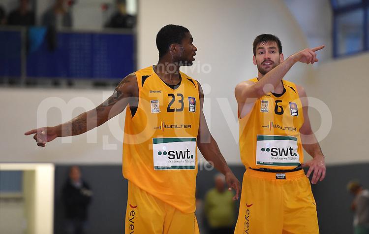Basketball 1. Bundesliga 2013/2014 Testspiel 02.09.2014 Walter Tigers Tuebingen - MLP Academics Heidelberg Michael Cuffee (li, Tigers) und Branislav Ratkovica (Tigers)