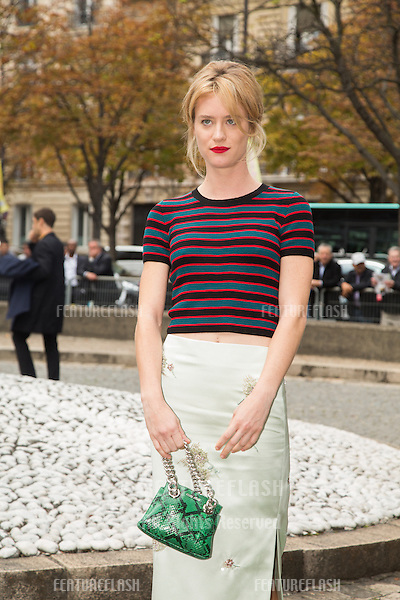 Mackenzie Davis attend Miu Miu Show Front Row - Paris Fashion Week  2016.<br /> October 7, 2015 Paris, France<br /> Picture: Kristina Afanasyeva / Featureflash
