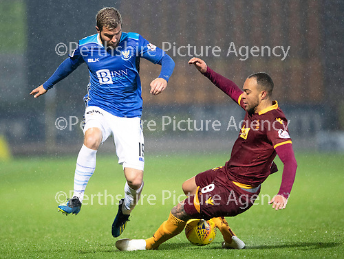 St Johnstone v Motherwell…15.12.18…   McDiarmid Park    SPFL<br />Richard Foster is tackled by Charles Dunne<br />Picture by Graeme Hart. <br />Copyright Perthshire Picture Agency<br />Tel: 01738 623350  Mobile: 07990 594431