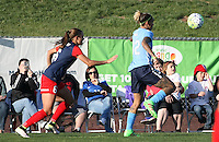 Piscataway, NJ, April 24, 2016.  Fans watch as forward Tasha Kai (32) of Sky Blue FC tracks the ball with Washington Spirit  defender Shalina Zadorski (6) in pursuit.  The Washington Spirit defeated Sky Blue FC 2-1 during a National Women's Soccer League (NWSL) match at Yurcak Field.