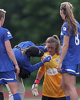 Boston Breakers substitute goalkeeper Alyssa Naeher (1) tended to for a injured/bloody nose. Don't tell mom what happened at the playground. In a National Women's Soccer League Elite (NWSL) match, Sky Blue FC (white) defeated the Boston Breakers (blue), 3-2, at Dilboy Stadium on June 16, 2013.
