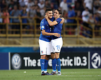 Football:  Uefa European under 21 Championship 2019, Italy - Spain Renato Dall'Ara stadium Bologna Italy on June16, 2019.<br /> Italy's Federico Chiesa (r) and Lorenzo Pellegrini (l) celebrate after winning 3-1 the  Uefa European under 21 Championship 2019 football match between Italy and Spain at Renato Dall'Ara stadium in Bologna, Italy on June16, 2019.<br /> UPDATE IMAGES PRESS/Isabella Bonotto