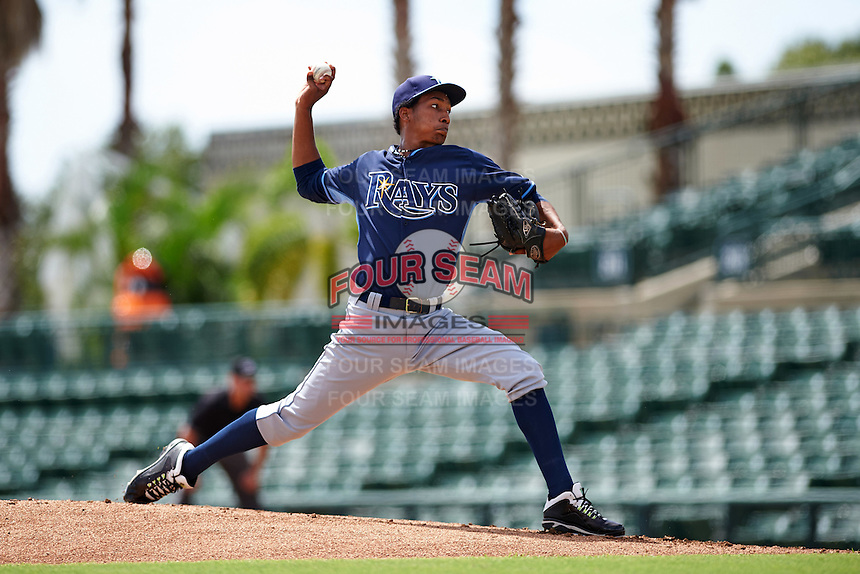 Tampa Bay Rays pitcher Jose Disla (45) during an instructional league game against the Baltimore Orioles on September 25, 2015 at Ed Smith Stadium in Sarasota, Florida.  (Mike Janes/Four Seam Images)