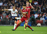 Harry Kane of Tottenham Hotspur is challenged by Federico Fernandez of Swansea City during the premier league match at the Wembley Stadium, London. Picture date 16th September 2017. Picture credit should read: Robin Parker/Sportimage