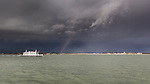 Wightlink ferry crossing the solent under stormy winter skies