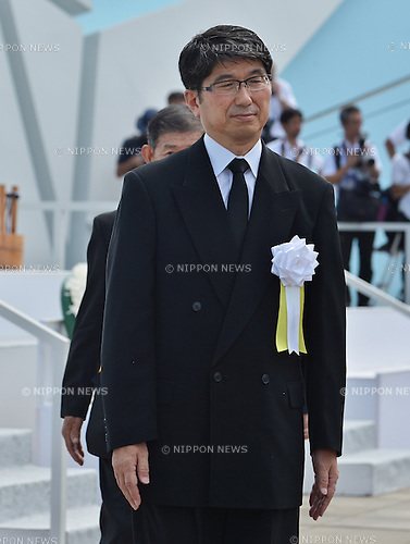 Tomihisa Taue, August 9, 2016, Nagasaki, Japan : Mayor of Nagasaki,Tomihisa Taue attends a ceremony of marking the 71th anniversary of the atomic bombing at Peace Park in Nagasaki, Japan, on August 9, 2016. (Photo by AFLO)