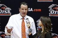 SAN ANTONIO, TX - JANUARY 22, 2011: The Texas State University Bobcats vs. the University of Texas at San Antonio Roadrunners Men's Basketball at the UTSA Convocation Center. (Photo by Jeff Huehn)