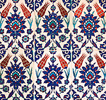 Iznik 02 - Iznik tiles with tulip design, Rustem Pasa Mosque, Eminonu, Istanbul, Turkey