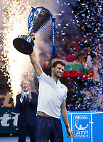 Grigor Dimitrov (BUL) celebrates with the ATP World Tour Trophy after defeating David Goffin (BEL), Nitto ATP World Tour Singles Final, O2 Arena, London United Kingdom, 19th November 2017