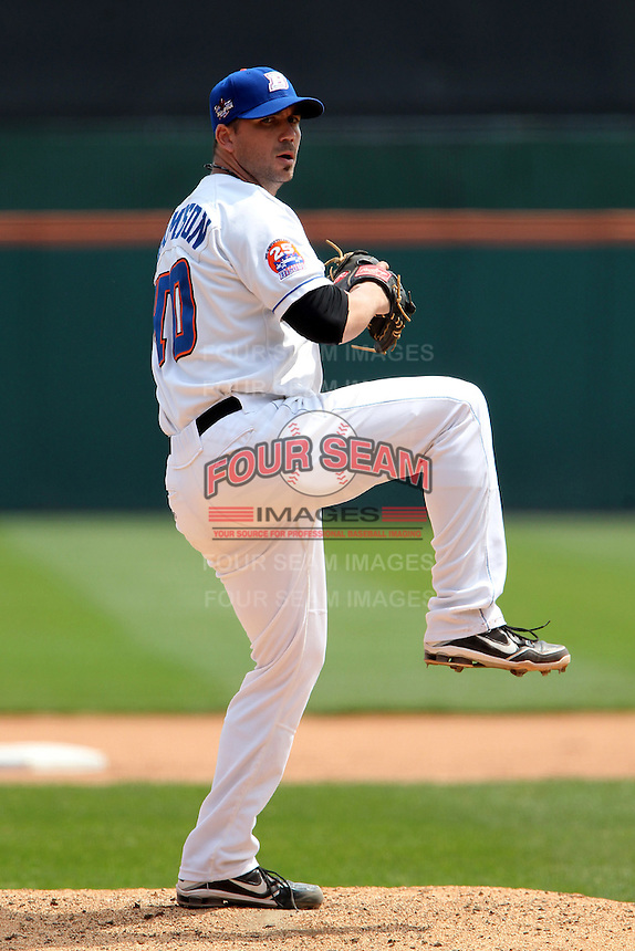 Buffalo Bisons pitcher Justin Hampson #40 during a game against the Indianapolis Indians at Coca-Cola Field on May 22, 2012 in Buffalo, New York.  Indianapolis defeated Buffalo 6-3.  (Mike Janes/Four Seam Images)