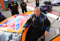 Oct 28, 2016; Las Vegas, NV, USA; NHRA pro stock driver Bo Butner with his Dukes of Hazzard themed car with Confederate Flag on the roof during qualifying for the Toyota Nationals at The Strip at Las Vegas Motor Speedway. Mandatory Credit: Mark J. Rebilas-USA TODAY Sports